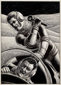 Art:Illustration Art - Pulp, VIRGIL FINLAY (American, 1914-1971). Two Spacemen Fighting,science fiction pulp interior story illustration. Pen and in...
