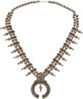 American Indian Art:Jewelry and Silverwork, A NAVAJO SILVER SQUASH BLOSSOM NECKLACE. c. 1950...
