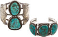 American Indian Art:Jewelry and Silverwork, TWO NAVAJO SILVER AND TURQUOISE BRACELETS. c. 1970... (Total: 2Items)
