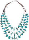 American Indian Art:Jewelry and Silverwork, A NAVAJO TURQUOISE AND SHELL NECKLACE...