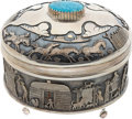 American Indian Art:Jewelry and Silverwork, A NAVAJO SILVER, GOLD AND TURQUOISE LIDDED BOX. Clarence Lee. c.1990...