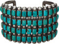 American Indian Art:Jewelry and Silverwork, A ZUNI SILVER AND TURQUOISE BRACELET. c. 1930...
