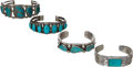American Indian Art:Jewelry and Silverwork, FOUR NAVAJO SILVER AND TURQUOISE BRACELETS. c. 1940- 1960...(Total: 4 Items)