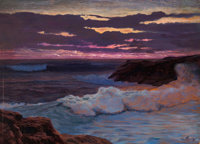 FREDERICK JUDD WAUGH (American, 1861-1940) Sea at Sunset Oil on masonite 24 x 33 inches (61.0 x 8