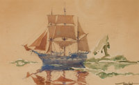 GORDON HOPE GRANT (American, 1875-1962) The Arctic Whaler (with preliminary watercolor study) (2), <