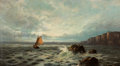 Paintings, SIDNEY YATES JOHNSON (British, 1871-1940). Ships Sailing Off the Coast, 1903. Oil on canvas. 17 x 31 inches (43.2 x 78.7...