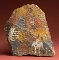 A Wonderful Chucu Painted Stone Plaque