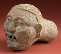 Important, Dramatic Maya Head of the Old Fire God for Dispensing Incense Smoke