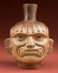 Antiques:Antiquities, Exceptional Large Mochica I Head Pot Depicting the Wearers of aCopper Aipec Jaguar Teeth Mask...