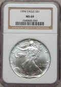 Modern Bullion Coins: , 1994 $1 Silver Eagle MS69 NGC. NGC Census: (7/4). PCGS Population(3464/0). Mintage: 4,227,319. Numismedia Wsl. Price for p...