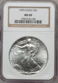 Modern Bullion Coins: , 1993 $1 Silver Eagle MS69 NGC. NGC Census: (86065/117). PCGSPopulation (3265/0). Mintage: 6,763,762. Numismedia Wsl. Price...