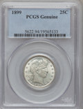 Barber Quarters, 1899 25C Barber Quarters Genuine PCGS. This PCGS number ending in94 suggests Altered Surfaces as the reason, or perhaps on...