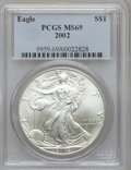 Modern Bullion Coins, 2002 $1 Silver Eagle MS69 PCGS. PCGS Population (7135/0).Numismedia Wsl. Price for problem free NGC/PC...