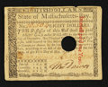 Colonial Notes:Massachusetts, Massachusetts May 5, 1780 $8 Extremely Fine-About New.. ...