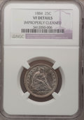 Seated Quarters: , 1884 25C --Improperly Cleaned--NGC Details. VF. NGC Census: (0/79).PCGS Population (5/102). Mintage: 8,000. Numismedia Wsl....