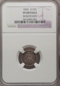 Seated Half Dimes: , 1865 H10C --Scratches--NGC Details. VF. NGC Census: (0/46). PCGSPopulation (4/58). Mintage: 13,000. Numismedia Wsl. Price f...