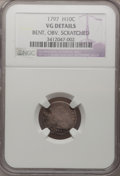 Early Half Dimes: , 1797 H10C 15 Stars--Obverse Scratched, Bent--NGC Details. VG. NGCCensus: (2/151). PCGS Population (6/169). Mintage: 44,527...