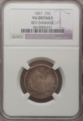 Seated Quarters: , 1867 25C --Rim Damaged--NGC Details. VG. NGC Census: (1/17). PCGSPopulation (0/53). Mintage: 20,000. Numismedia Wsl. Price ...