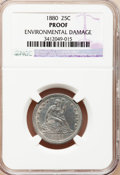 Proof Seated Quarters: , 1880 25C --Environmental Damage--NGC Details. Proof. NGC Census:(3/267). PCGS Population (8/300). Mintage: 1,355. Numismedi...