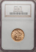 Liberty Half Eagles: , 1900 $5 MS63 NGC. NGC Census: (3173/1774). PCGS Population(2206/894). Mintage: 1,405,730. Numismedia Wsl. Price for proble...