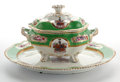 Ceramics & Porcelain, Whoopi Goldberg Collection. APPLE GREEN GROUND CHAMBERLAIN WORCESTER ARMORIAL COVERED OVAL PORCELAIN TUREEN WITH UNDERPL... (Total: 3 Items)