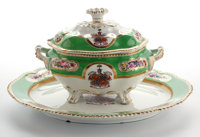Whoopi Goldberg Collection  APPLE GREEN GROUND CHAMBERLAIN WORCESTER ARMORIAL COVERED OVAL PORCELAIN TUREEN