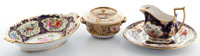 Whoopi Goldberg Collection  FOUR ENGLISH GILT COBALT BLUE PORCELAIN PIECES BY VARIOUS MAKERS 19t