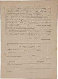 """[Civil War] Death Certificate for James O. McCook, a Private in """"A"""" Company of the Georgia 49th Infantry"""