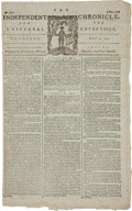 Military & Patriotic:Revolutionary War, [Revolutionary War] 1779 Edition of Boston's IndependentChronicle Mentioning a Proposal in Georgia to Arm Slaves ...