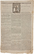 Military & Patriotic:Revolutionary War, Newspaper: 1779 Edition of Boston's Independent ChronicleWith War News and Other Fine Content....