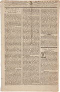 Miscellaneous:Newspaper, Newspaper: 1786 Edition of The Massachusetts CentinelAnnouncing the Establishment the United States Mint....