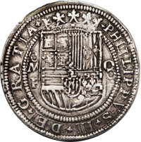 Mexico: Philipp III Royal 8 Reales Mo-F ND (1598-1621), Lazaro-33 var, 43 mm, 27.47 gm, XF. A spectacular example of the...