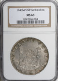 Mexico: , Mexico: Ferdinand VI 8 Reales 1748-Mo MF, KM-104.1, MS63 NGC, areally pleasing example with a balanced, clear strike and mediumgra...