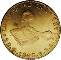 Mexico: , Mexico: Hand on Book gold 8 Escudos 1862-Go YE, KM-383.7, lustrousXF, usual areas of weak strike, lots of small abrasions....