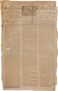 "Miscellaneous:Newspaper, 1793 Edition of The Boston Gazette and Country Journal With""Dr. Ne[Benjamin] Franklin's Remarks Concerning the Sa..."