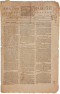 Miscellaneous:Newspaper, Newspaper: 1793 Edition of The Boston Gazette and CountryJournal ....