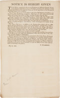 Miscellaneous:Ephemera, [Henry Dearborn] Printed Document Signed in Type by Secretary ofWar Henry Dearborn Specifying Uniform Regulations for Regular...