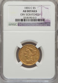 Liberty Half Eagles, 1855-C $5 -- Obverse Scratched -- NGC Details. AU. Variety 1....
