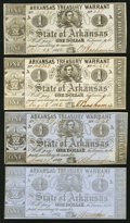 Obsoletes By State:Arkansas, (Little Rock), AR- Arkansas Treasury Warrants $1 1862-3 Four Examples.. ... (Total: 4 notes)