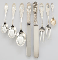 Whoopi Goldberg Collection  WHITING MANUFACTURING CO. SILVER PARTIAL FLATWARE SERVICE IN THE A