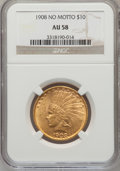 Indian Eagles: , 1908 $10 No Motto AU58 NGC. NGC Census: (111/479). PCGS Population(108/513). Mintage: 33,500. Numismedia Wsl. Price for pr...