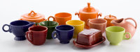 Whoopi Goldberg Collection  GROUP OF MIXED COLOR FIESTA-TYPE CUPS, SAUCERS, SUGAR & CREAMER, BUTTER DISH AN
