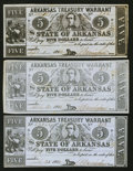 Obsoletes By State:Arkansas, (Little Rock), AR- Arkansas Treasury Warrants $5 1863-4 Three Examples. . ... (Total: 3 notes)