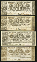 Obsoletes By State:Arkansas, (Little Rock), AR- Arkansas Treasury Warrants $10 1862-5 Four Examples. . ... (Total: 4 notes)