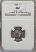 Bust Dimes: , 1834 10C Small 4 MS63 NGC. NGC Census: (31/72). PCGS Population(18/39). Mintage: 635,000. Numismedia Wsl. Price for proble...