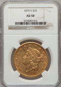 Liberty Double Eagles: , 1870-S $20 AU50 NGC. NGC Census: (137/757). PCGS Population(80/248). Mintage: 982,000. Numismedia Wsl. Price for problem f...