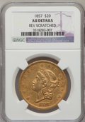 Liberty Double Eagles: , 1857 $20 --Reverse Scratched-- NGC Details. NGC Census: (40/303).PCGS Population (35/150). Mintage: 439,375. Numismedia Wsl...