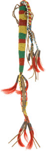 American Indian Art:Beadwork and Quillwork, THREE PLAINS BEADED HIDE AWL CASES. c. 1900... (Total: 3 Items)