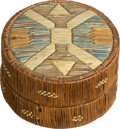American Indian Art:Beadwork and Quillwork, A MICMAC QUILLED BIRCHBARK LIDDED BASKET. c.1880 ...