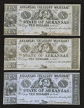 Obsoletes By State:Arkansas, (Little Rock), AR- Arkansas Treasury Warrants $10 1863-4 Three Examples. . ... (Total: 3 notes)